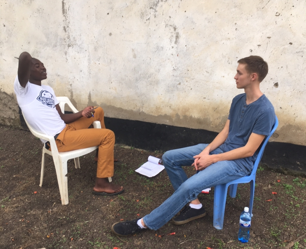Caleb and Julius talking
